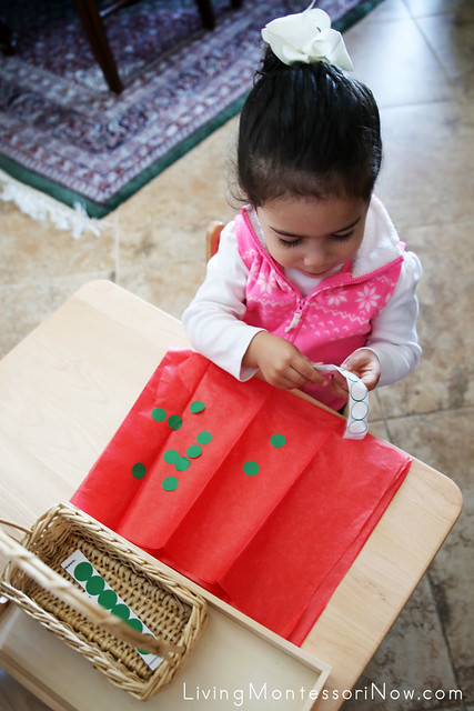 Making Christmas Dot Wrapping Paper at 2 Years