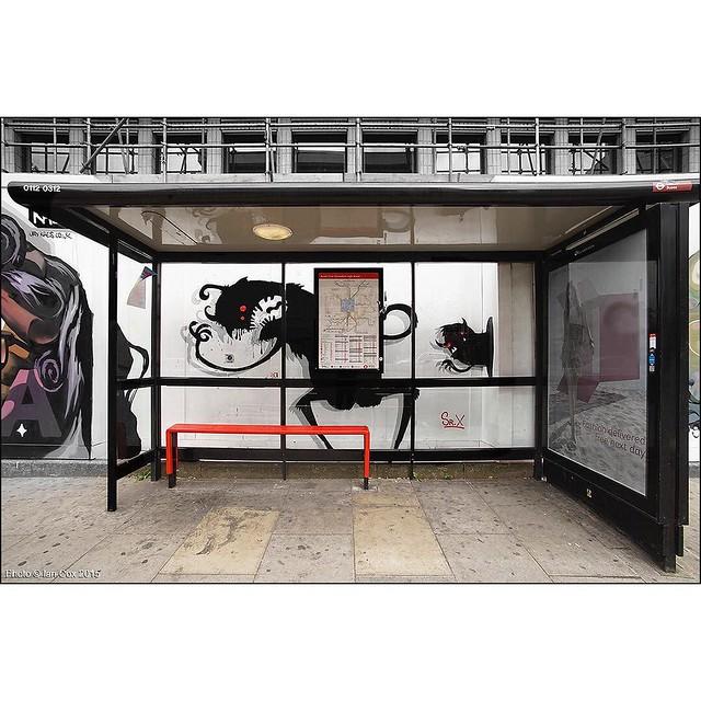 Shoreditch Invasion by Sr.X seen in #London. #wallkandy #art #streetart #graffiti #busstop #shoreditch #srx #mural #fb #f #t #p
