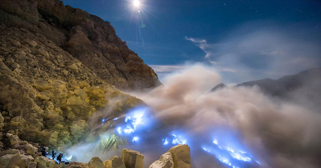 The Dancing Blue Fire of Ijen Crater