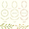 Floral Wreaths. 12 Watercolor digital Clipart. Handpainted, laurel wreath, flowers, wedding, invitations, greetings, branch, doodle frames by octopusartis