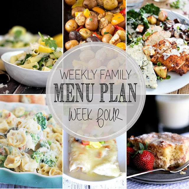 Weekly Family Menu Plan - 5 weeknight dinners, a weekend breakfast, and a yummy dessert