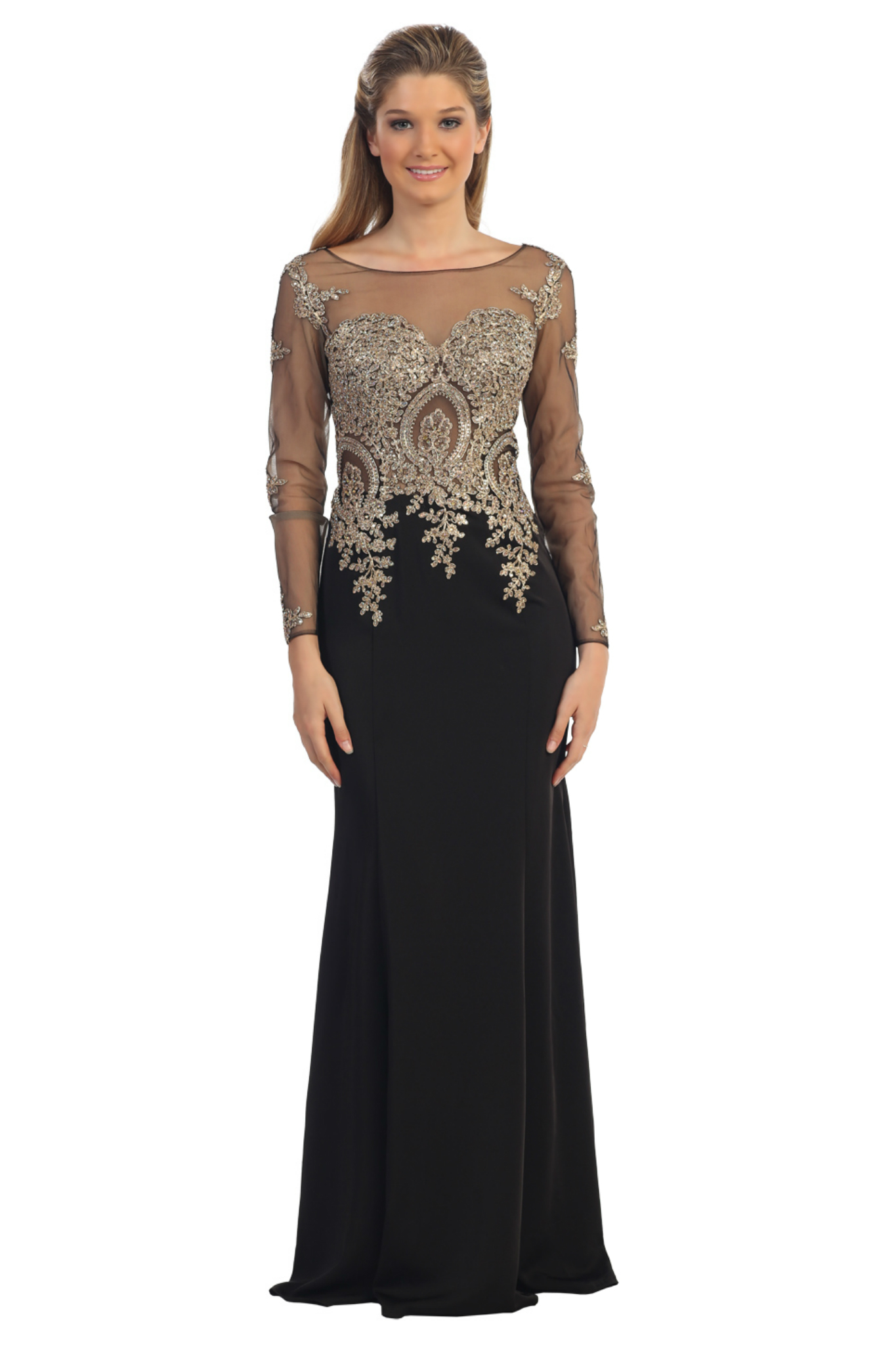Long Chiffon Mother of Bride Dress With Short Sleeves Navy