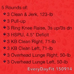 #EveryDayFit 150914 5 Rounds of: 🔹3 Clean & Jerk, 123-lb 🔹3 Pull-up 🔹3 Ring Knee Raise, 3s up/3s dn 🔹3 HSPU, 4.5