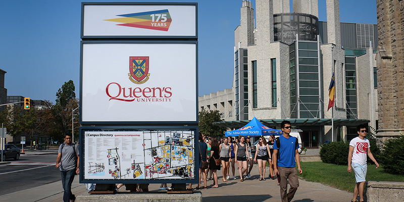 Queen's welcome sign received an update with new signage, including the logo for next year's 175th anniversary celebrations as well as an up-to-date campus map.
