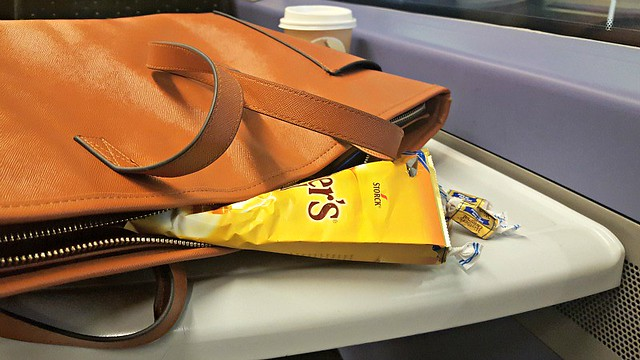 Bag and toffees on train, Werther's Original