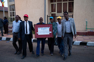 UNICEF Ethiopia, Rotary International and Somali Regional Health Bureau team members with the signed Pledge of Commitment on the Eradication of Polio