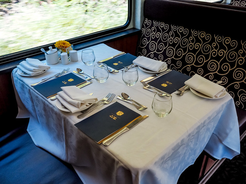 Dining aboard the Rocky Mountaineer train