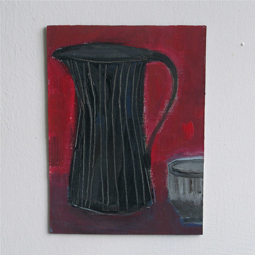 dark etched jug with red