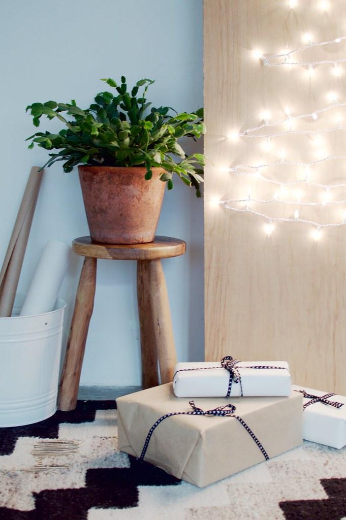 Minimalist Fairy Light & Pine Christmas Tree