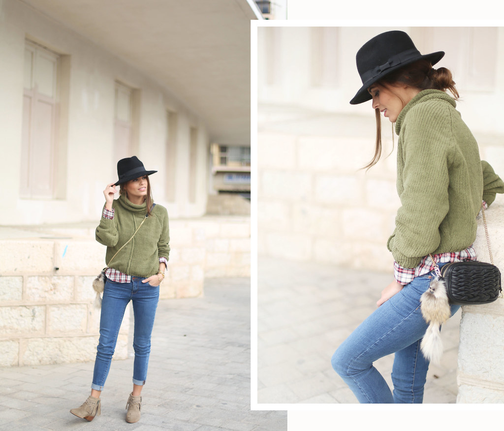 green turtleneck sweater fringed booties plaid shirt jessie chanes 2