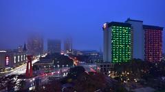 Foggy and Bluehour San Antonio Skyline