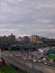 "view from our roof. this highway takes you out of the bronx to upstate. 87. The ""Major Deegan"""