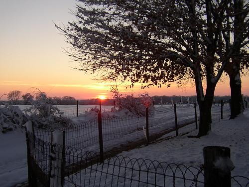 sunset snow oklahoma grove