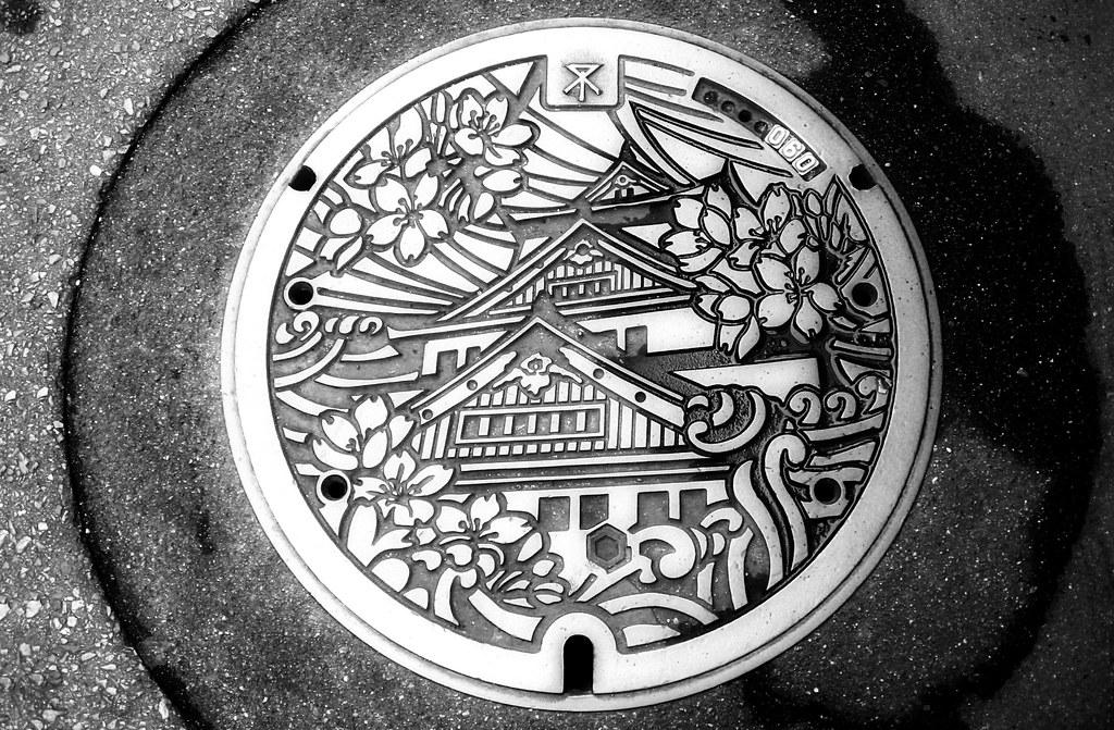 Japanese art on manhole
