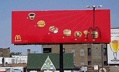 signage, facade, billboard, fast food, advertising,