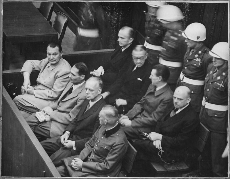 Hermann Göring, Rudolf Heß, Joachim Ribbentrop, Keitel sitting in front row during Nuremberg Trials