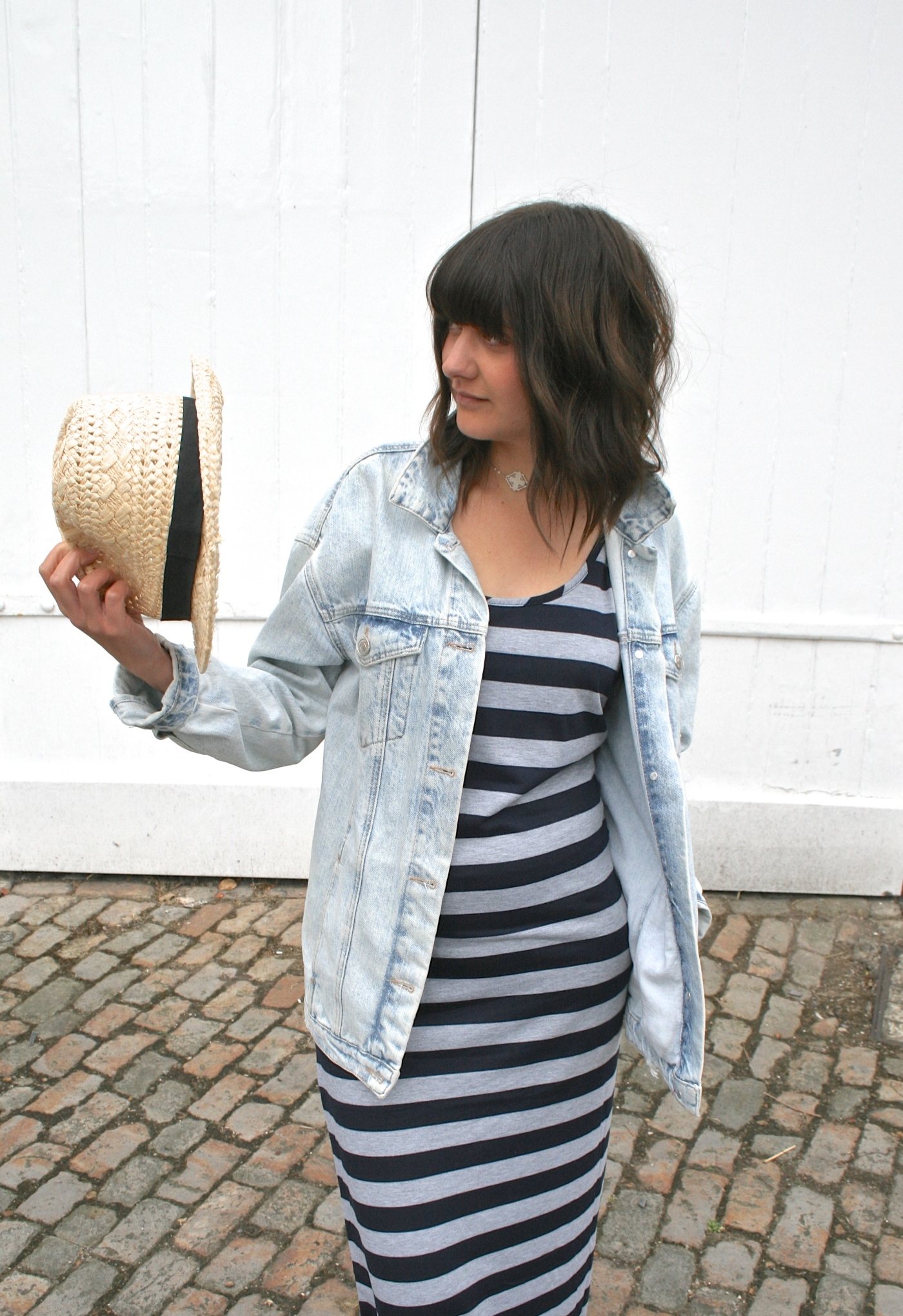 straw hat and maxi dress