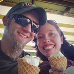 When we you have a newborn and an almost four year old, spending 60 uninterrupted seconds together eating ice cream at the fair totally counts as a date, right?