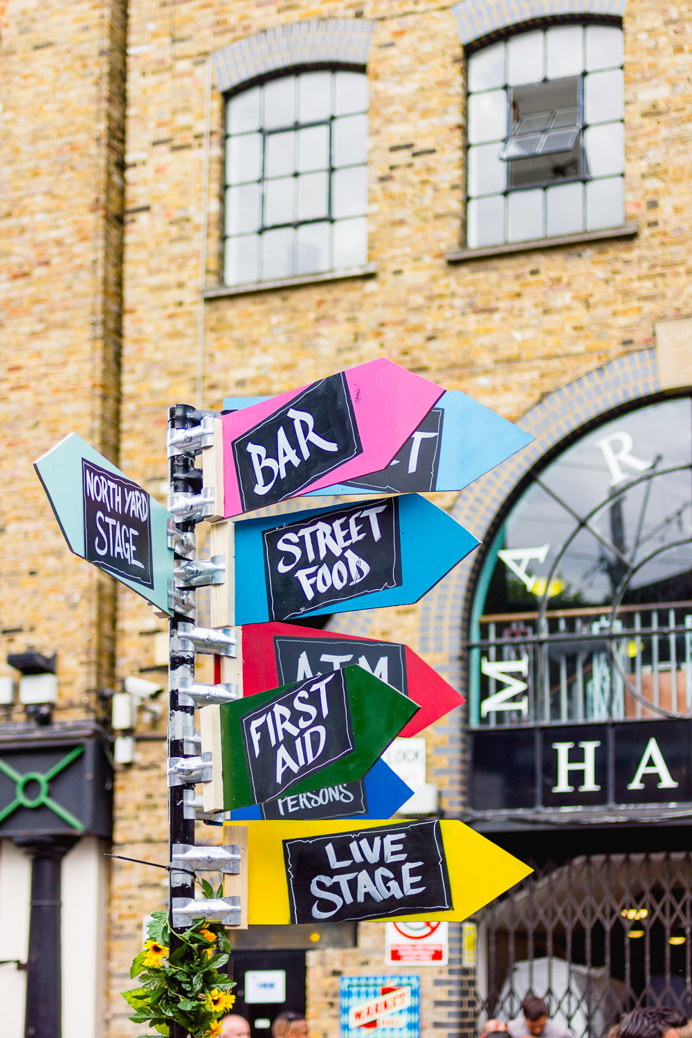 Camden Lock Live 2015 colourful sign post
