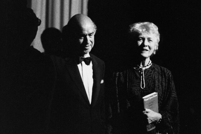 Sir Claus and Lady Moser at a performance of Le nozze di Figaro at the Royal Opera House in honour of Moser's retirement as Chairman of the Royal Opera House, 1987. Photograph by Donald Southen © Royal Opera House