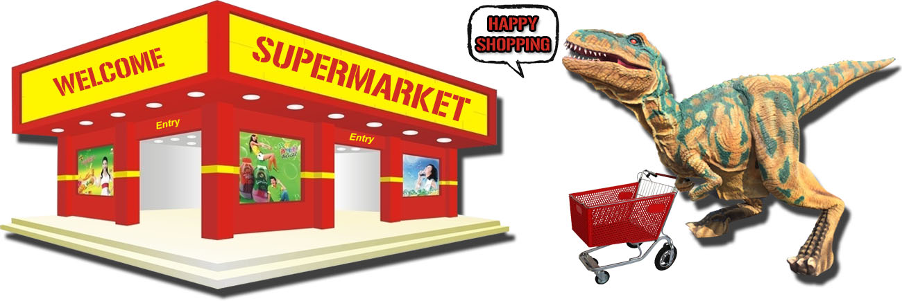Dinosaur Alive in Supermarket