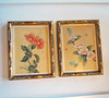 Pair of Vintage Japanese Silk Flower Paintings in Gold-Gilt Bamboo Frames