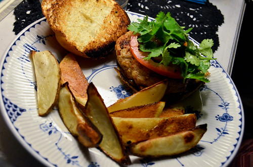 Thai Chicken Burgers with Hoisin Mayo & Roasted Potato Wedges
