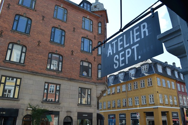 Atelier September sign and street Copenhagen