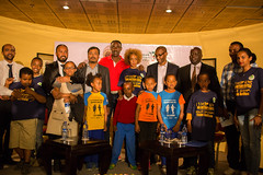 Group photo: Launching of Great Ethiopia Run's Plan International Ethiopia children races and Running for a Cause campaign