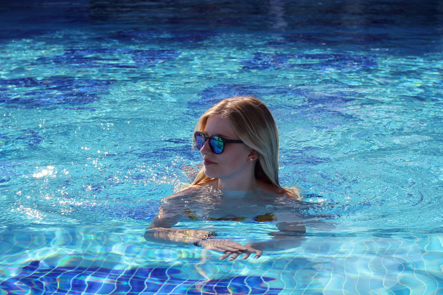 antalya pool water sunnies girl blonde smile