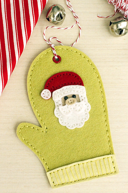 Beaded Mitten Stitching Dies from Papertrey Ink's Beaded Holiday Stitch Kit and Seasonal Stitches Santa Stitching Die