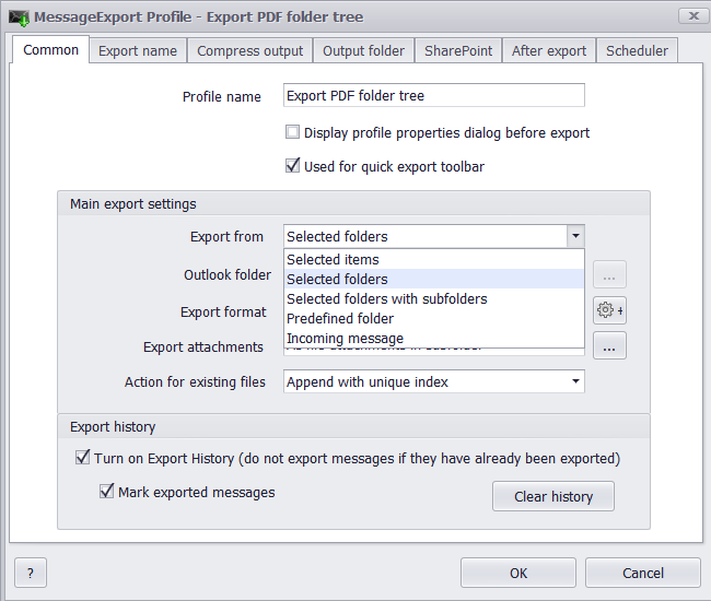 Export email from Outlook 2013 folders with MessageExport add-on.