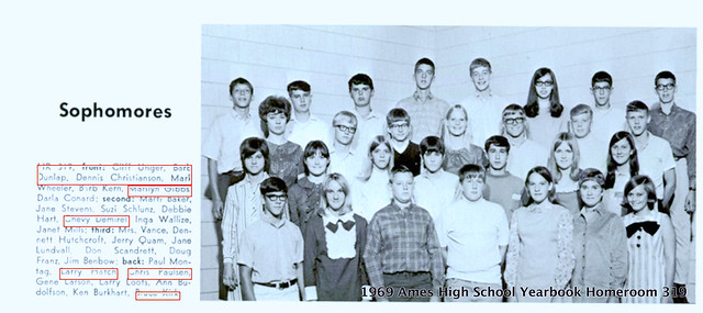 1969 Ames High School Yearbook Sophomore Homeroom 319 Chevy Demirel Chris Paulson Larry Loots screen shot AHS