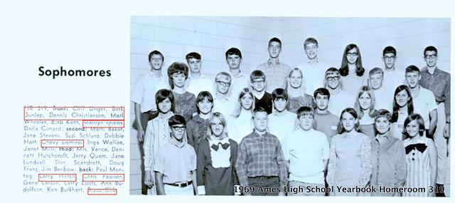 1969 Ames High School Yearbook Sophomore Homeroom 319 Chevy Demirel Chris Paulson Larry Loots screen shot AHS