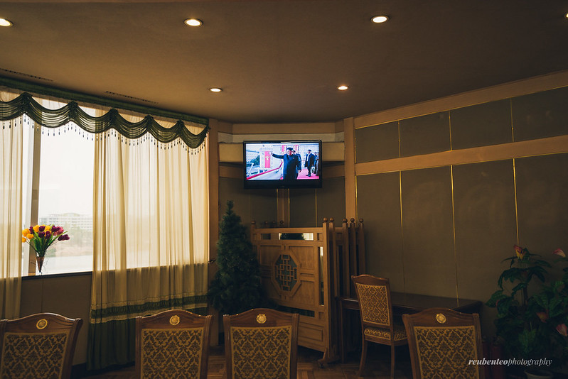 Watching the parade at Hotel Restaurant with Marshall Kim Jong Un