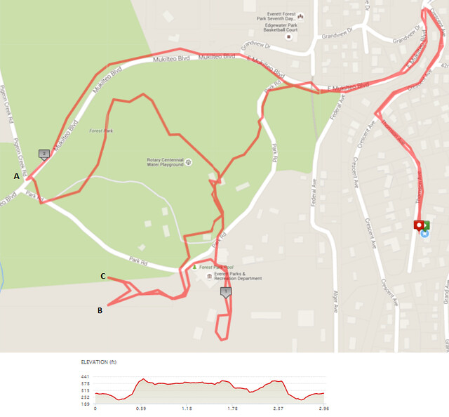"""Yesterday""""s awesome walk, 2.96 miles in 1:07, 6,371 steps, 337ft gain"""