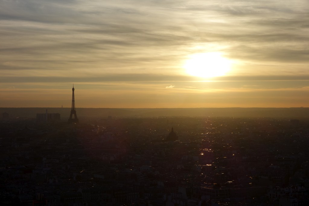 view from Sacré-Cœur at sunset