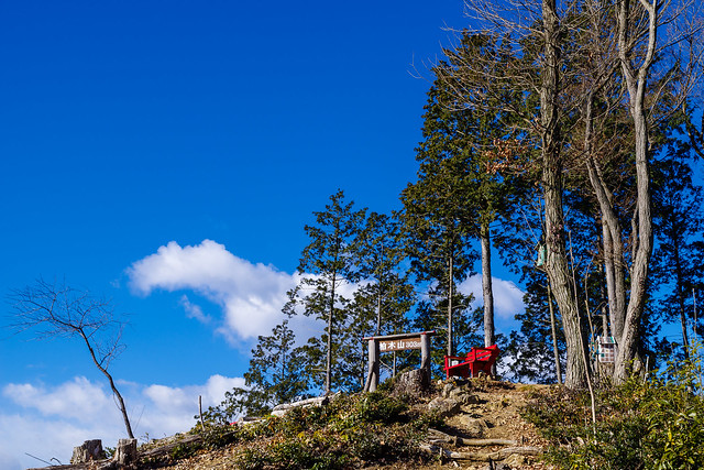 赤いベンチの置かれた柏木山山頂