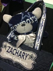 Cowboys Bear and Diaper Bag Set  $70