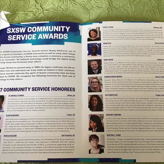 There is nothing as magical as attending the Dewey Winburne SXSW Community Service Awards. So lucky to be sitting between Gene Rodgers & Anne Forrest. #peacecranesxsw