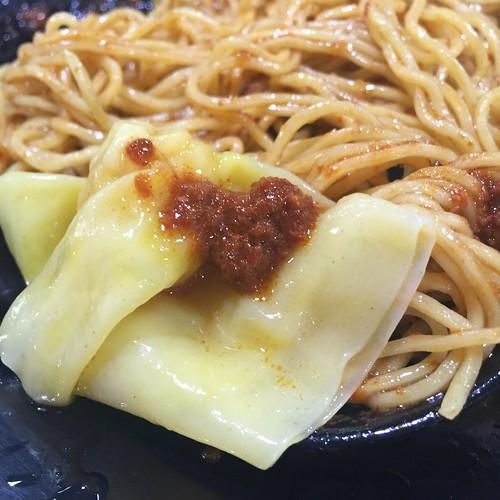 Topping my Wanton with Chili at Joo Chiat Ah Huat Wanton Mee - Dunman Food Centre