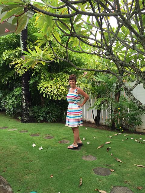 Lekala stripe dress under plumeria tree