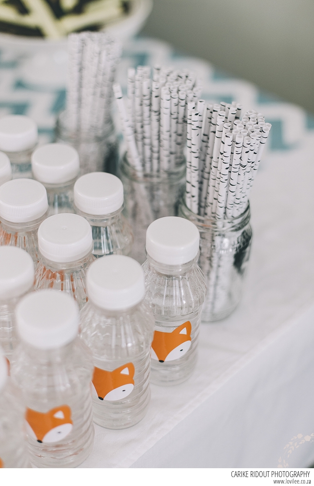 Fox party decor - water bottles with fox stickers