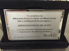 06 10 2015 - Homenagem da Advocacia-Geral da União de MG - Placa