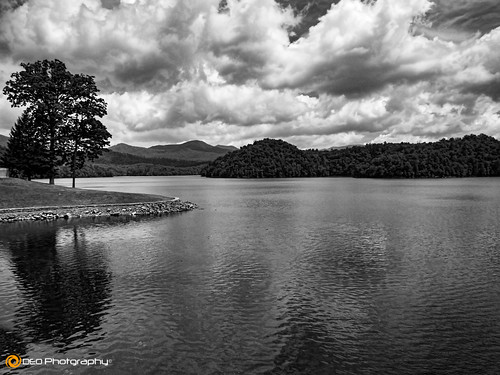 trees blackandwhite bw lake mountains water monochrome clouds landscape mono outdoor northcarolina panasonic hiwasseedam fz200