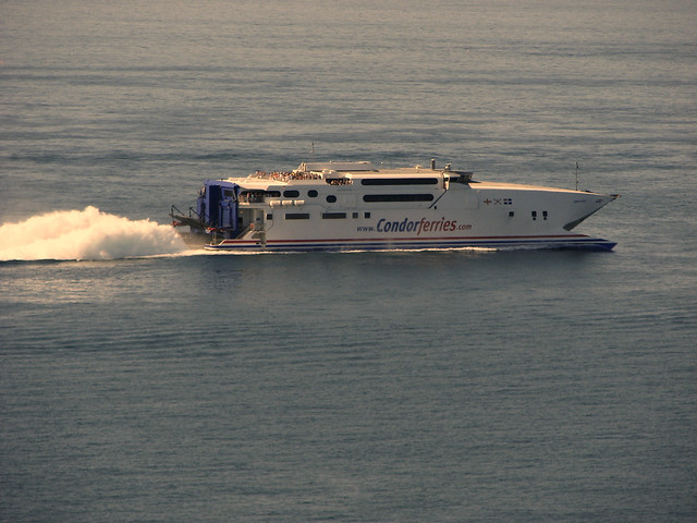 Condor Express passes Portelet Bay