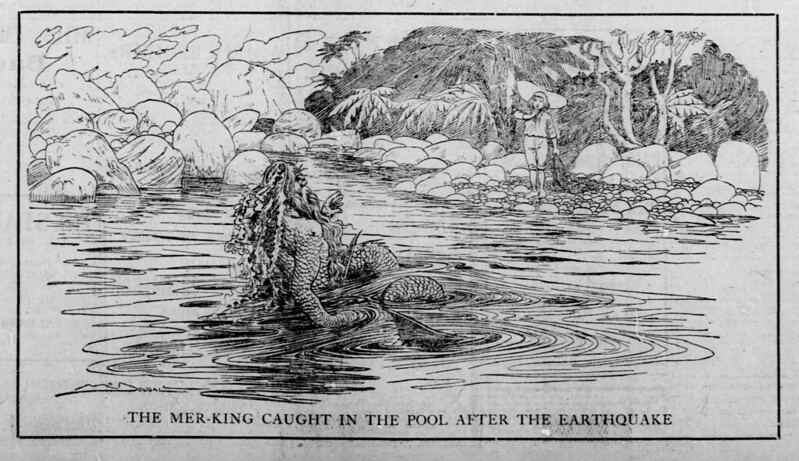 Walt McDougall - The Salt Lake herald., February 15, 1903, The Mer-King Caught In The Pool After The Earthquake