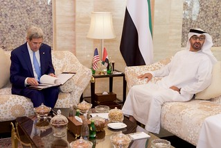 Secretary Kerry Sits With United Arab Emirates Crown Prince Mohammed bid Zayed Before a Bilateral Meeting in the Mina Palace