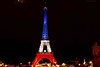 Illuminated Eiffel Tower in the colors of France.