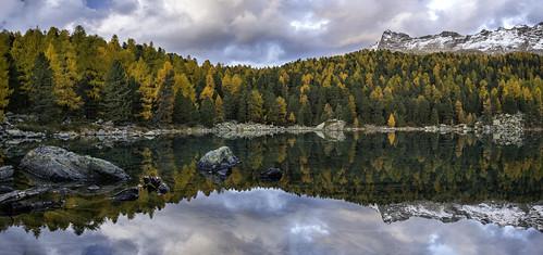 autumn trees panorama mountain lake mountains reflection berg landscape lago schweiz switzerland nikon wasser outdoor berge di landschaft ch graubünden poschiavo saoseo d800e